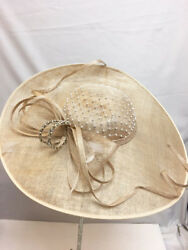 New Womenand039s Giovannio Beige Wide Brimmed Rhinestone Feather Bow Detail Tea Hat