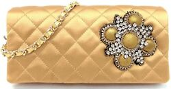 Auth CHANEL Matelasse Gold Quilted Satin WOC Rhinestone Charm Evening Clutch Bag