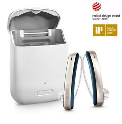 2 Brand New Signia Styletto Connect 7/5/3 Rechargeable Hearing Aids+free Charger
