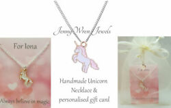 CHILDREN's Jewellery UNICORN Necklace Personalised gift Sterling Silver Chain $10.08