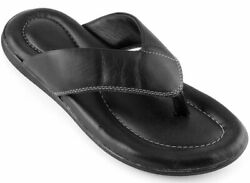 Menand039s Flip Flops Sandals Top Grain Leather Cushion Footbed Size 7-13 India Made