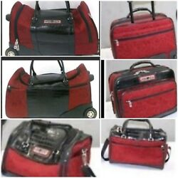 Brighton 3 PC Red Luggage Overnight~Rolling Duffel~Cosmetic Bag
