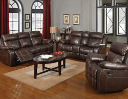 Double Gliding Sofa WConsole Sofa set Bonded Leather Living room 603021