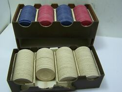 Vintage Peau Doux Poker Chips 190 Embossed Boston Terrier With Box
