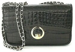 RAPHAEL Crocodile Alligator BABY Black Evening Clutch Bag Exotic Leather ITALY