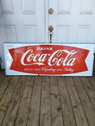 1950's COCA COLA FISH TAIL SLED SIGN PORCELAIN SODA SIGN
