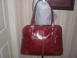 Fossil Leather Computer Messenger Laptop Work School Bag  Red