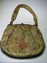 FABRIC HANDBAG STERLING SILVER MOUNT PURSE by S.Cottle & Co New York NY ca1900's