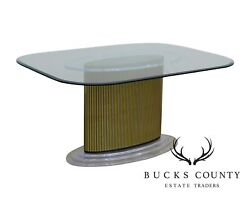 Mid Century Modern Lucite And Gold Pedestal Base Glass Top Dining Table