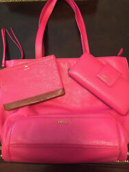 3 Pc Set Fossil Tote Wristlet Wallet Fuchsia Pink Gen Leather Ex Cond Used 1X