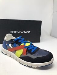 550 New Dolce And Gabbana Mens Blue Gray Orange Sneakers Shoes Size 8 Us 7 Uk 41