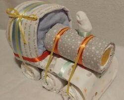 Diaper Cake Train Gender Neutral With Lots Of Baby Items And Diapers
