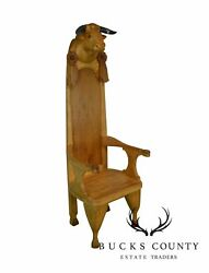 Hand Carved Bull Head With Horns Throne Chair