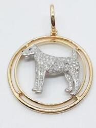 14K Two Tone Gold Diamond Terrier Pave Pendant (AP1055400)
