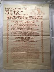 1916 French Pour Metz Benefit For Refugees Of Lorraine Wwi Poster 39 X 55