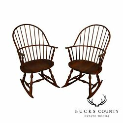 Martin's Chair Shop Bench Made Solid Cherry Sackback Pair Of Windsor Rockers F