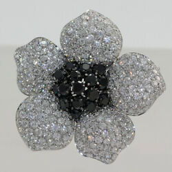 18K White Gold Italian Made Diamond Flower Brooch