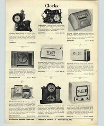 1956 Paper Ad Novelty Clocks Spinning Wheel Fireplace Fireside Horse Carriage