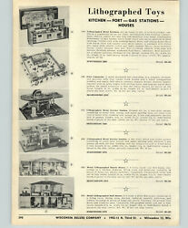 1956 Paper Ad Lithograph Litho Toy Doll House Service Gas Station Fort Comanche