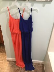 Lush Nordstrom Women's Junior Girls Maxi Dresses Size XS Extra Small Coral Blue