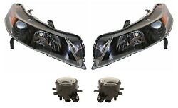 Left And Right Genuine Headlights Headlamps And Fog Lights Kit For Acura Tl 12-14