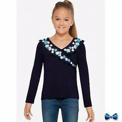Justice Girls Size 12 Faux Wrap Long Sleeve Tee Nee With Tags