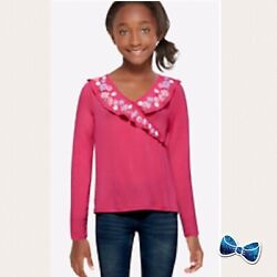 Justice Girls Size 10 Faux Wrap Long Sleeve Tee Nee With Tags