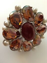 NWOT CHRISTIAN DIOR BAROQUE 1980 COCKTAIL RING RED 'TOPAZ' PEARL STONES BOXED