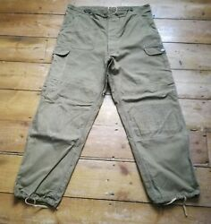 VINTAGE ARMY CARGO PANTS - 1960 -1980's - Olive Green - Size ML