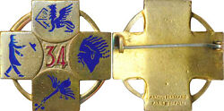 34° Escadre Of Bombing, Enamel, Back Smooth Swaged, A. B. P. D. 7385
