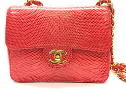 Rare CHANEL Red Lizard Skin Gold CC & Chain Classic Shoulder Hand Bag