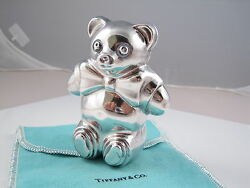 And Co Rare Silver Teddy Bear Baby Rattle Teether