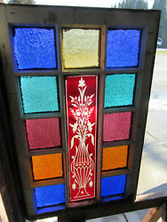 Antique Stained Glass Window Ruby Etched Glass Queen Anne 22 X 35 Salvage