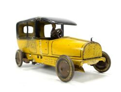 Antique Lehmann Tin Plate Toy Taxi Wind Up Working Made In Germany Rare