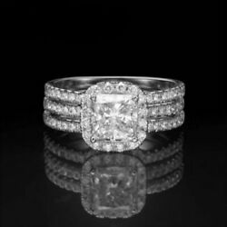 MICRO PAVE COLORLESS DIAMOND CUSHION RING 2 BANDS 2.95 CARATS 18 KT WHITE GOLD