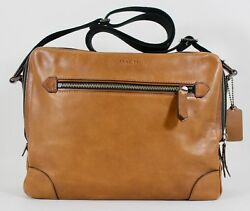 New Coach Men's F71373 Brown Leather Flight Briefcase Crossbody Bag NWT