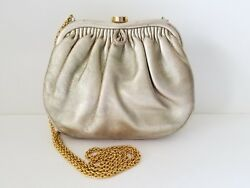 AUTHENTIC CHANEL KISS LOCK GOLD LEATHER EVENING BAG GOLD CHAIN VINTAGE HANDBAG
