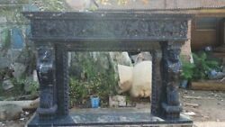 Hand Carved Black Marble  Lions Fireplace Mantel Ornate Carvings86'' x 58''