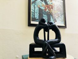 Lovers 1990 art sculpture in aluminum by Indian world renowned artist.