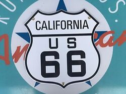 Quality Route 66 California Die-cut Shield Porcelain Coated 18 Gauge Steel Sign