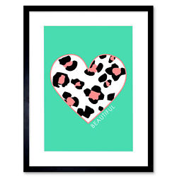 Leopard Coral And Green Beautiful Art Print Framed Poster Wall Decor