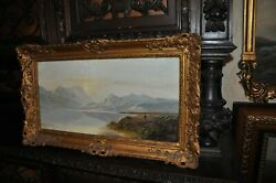 Antique Oil On Canvas By Charles Edward John Leslie 1834-1886 Painting