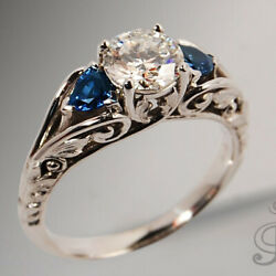 Antique Jewelry 925 Silver White Andblue Sapphire Ring Proposal Engagement Jewelry