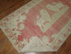 Vintage Turkish Oushak Pictorial Lion Rug Size 7and0394and039and039x4and0393and039and039