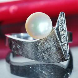 1900and039s Antique 14k White Gold 7mm Pearl And Diamond Ring Size 5.5 Handmade 6.1gr