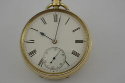 18ct Webb And Hudson London Open Face Pocket Watch Circa 1891