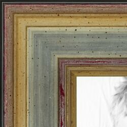 Arttoframes Picture Poster Frame Silver W Gold Accent 1.25 Wide Wood 4565