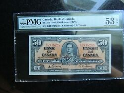 1937 Bank Of Canada 50 Fifty Dollars Gordon Towers Changeover Pmg Au-53 Epq