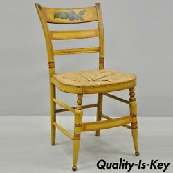 Early 19th C Bentwood Slat Back Rush Seat Yellow Paint Stenciled Dining Chair A