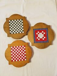 Kitchen Trivets Wood With Center Ceramic Inlay Pieces - Final Listing